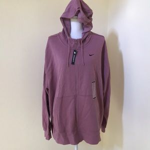New! Nike 3X mauve French terry Zippered hoodie